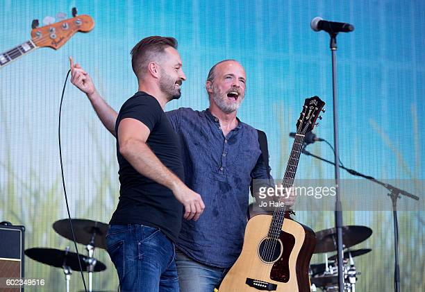 Alfie Boe guest stars on stage with Fran Healy and Travis at BBC R2 Live at Hyde Park on September 11 2016 in London England