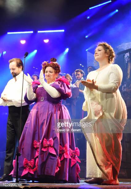 """Alfie Boe, Katy Secombe and Carrie Hope Fletcher bow at the curtain call during the return of """"Les Miserables: The Staged Concert"""" to London's West..."""