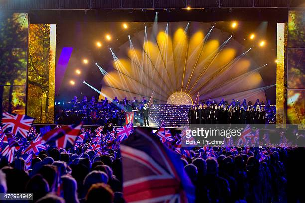 Alfie Boe performs during a concert on the 70th anniversary of VE Day at Horse Guards Parade on May 9 2015 in London England