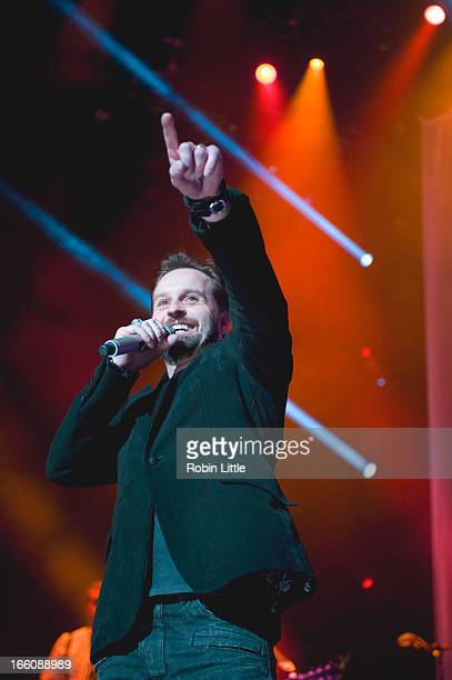 Alfie Boe performs on stage at Royal Albert Hall on April 8 2013 in London England