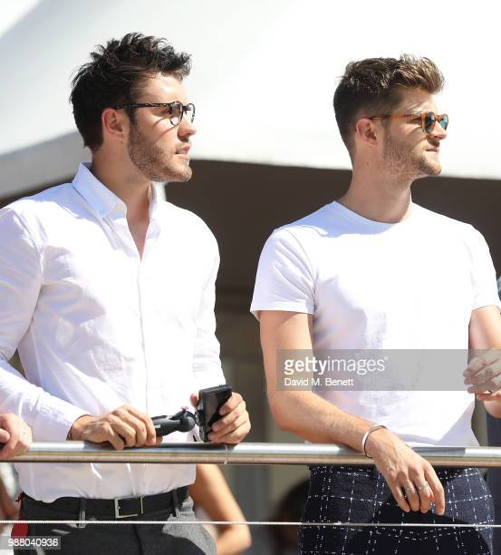 Alfie Deyes and Jim Chapman attend the Audi Polo Challenge at Coworth Park Polo Club on June 30 2018 in Ascot England