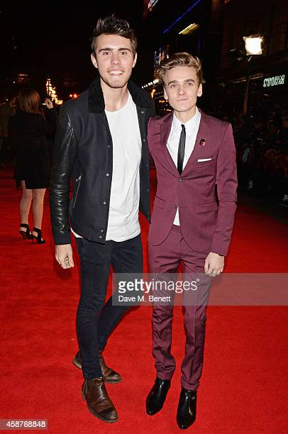 Alfie Deyes and Joe Sugg attend the World Premiere of 'The Hunger Games Mockingjay Part 1' at Odeon Leicester Square on November 10 2014 in London...