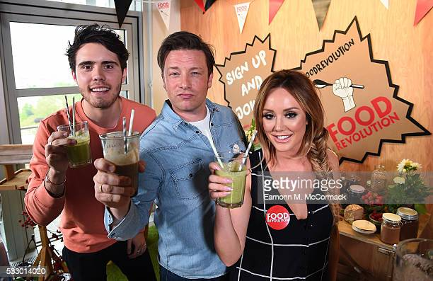 Alfie Deyes Jamie Oliver and Charlotte Crosby take part in Jamie Oliver's Food Revolution Day on May 20 2016 in London United Kingdom Jamie Oliver...