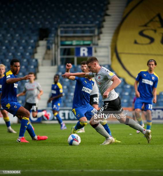 LONDON ENGLAND SEPT 1ST 2020 Alfie Doughty of Charlton Athletic on the ball during the EFL Trophy match between AFC Wimbledon and Charlton Athletic...