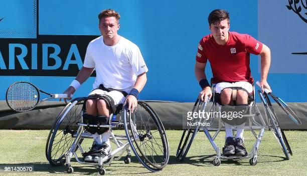 LR Alfie Hewett and Gordon Reid during FeverTree Championships Wheelchair Doubles Event match between Alfie Hewett and Gordon Reid against Stephane...