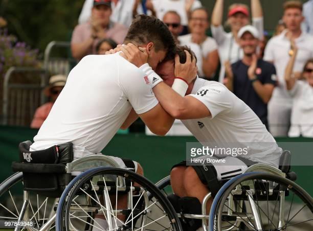 Alfie Hewett and Gordon Reid of Great Britain celebrate after winning the mens doubles wheelchair semi final against Gustavo Fernandez of Argentina...