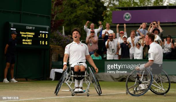 Alfie Hewett and Gordon Reid of Great Britain celebrate after winning the mens doubles wheelchair semi final against Gustavo Fernandez of Argentina...