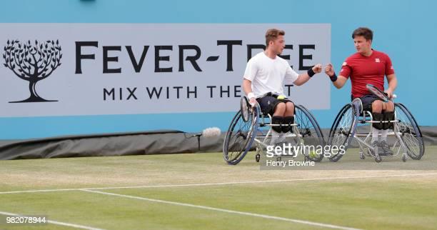 Alfie Hewett and Gordon Reid of Great Britain during a men's wheelchair doubles match against Daniel Caverzaschi of Spain and Stefan Olsson of Sweden...