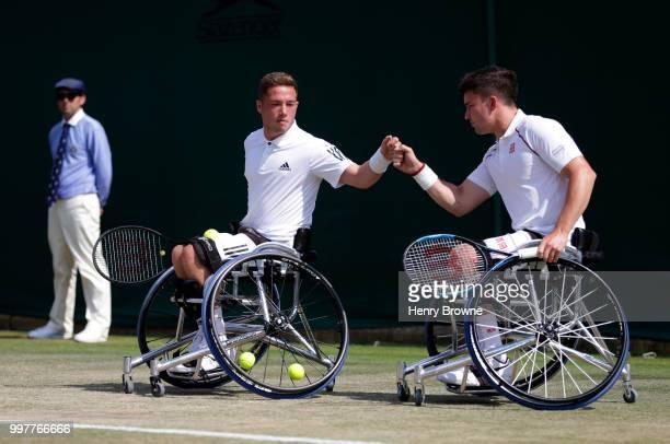 Alfie Hewett and Gordon Reid of Great Britain during the mens doubles wheelchair semi final against Gustavo Fernandez of Argentina and Shingo Kunieda...