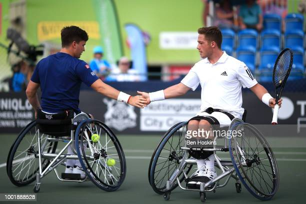 Alfie Hewett and Gordon Reid of Great Britain in action during his doubles semi final against Gustavo Fernandez of Argentina and Shingo Kunieda of...