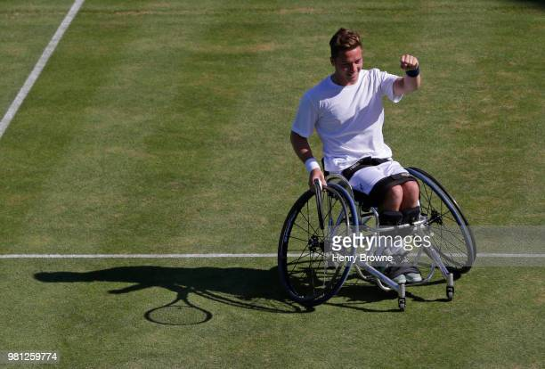 Alfie Hewett of Great Britain celebrates in the men's wheelchair doubles against Stephane Houdet and Nicolas Peifer of France during Day 5 of the...
