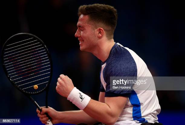 Alfie Hewett of Great Britain celebrates winning a his match against Stephane Houdet of France on day 3 of The NEC Wheelchair Tennis Masters at...