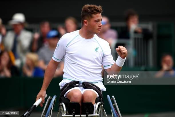 Alfie Hewett of Great Britain celebrates winning a point during his Gentlemen's wheel chair tennis semi final against Gustavo Fernandez of Argentina...