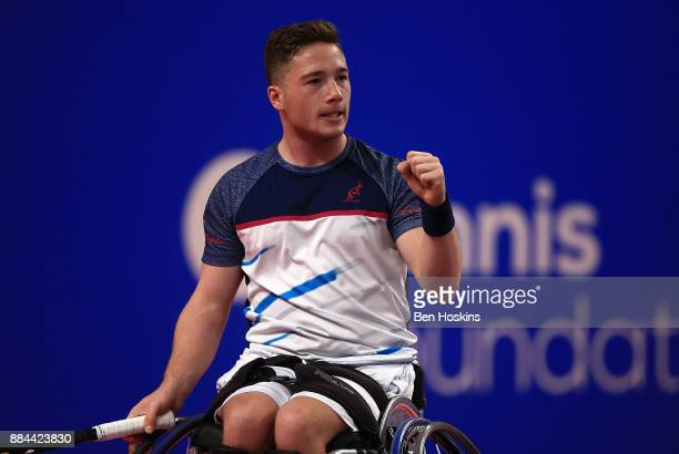 Alfie Hewett of Great Britain celebrates winning a point during his match against Joachim Gerard of Belgium on day four of The NEC Wheelchair Tennis...