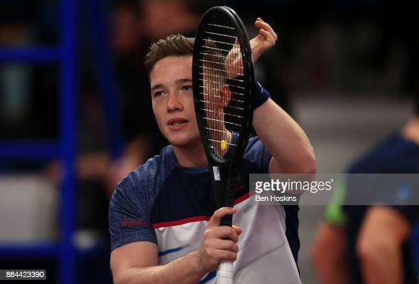 Alfie Hewett of Great Britain celebrates winning his match against Joachim Gerard of Belgium on day four of The NEC Wheelchair Tennis Masters at...