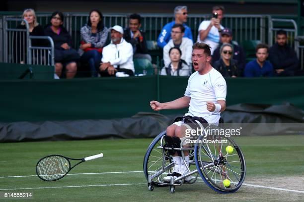 Alfie Hewett of Great Britain celebrates winning his men's doubles wheel chair semi final match against Gustavo Fernandez of Argentina and Shingo...