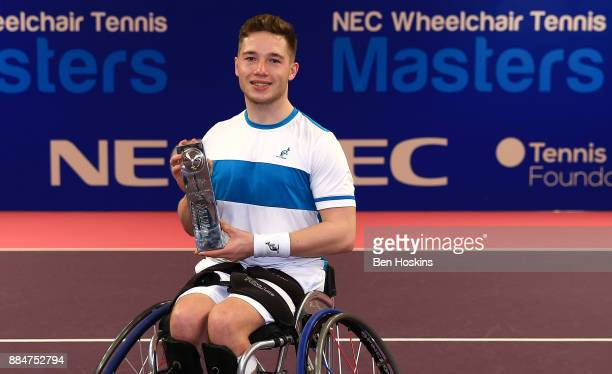 Alfie Hewett of Great Britain celebrates winning the mens final against Gordon Reid of Great Britain on day five of The NEC Wheelchair Tennis Masters...