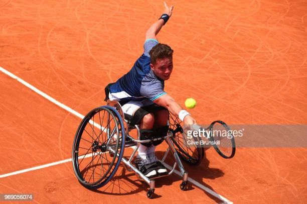 Alfie Hewett of Great Britain competes in the mens singles wheelchair match against Gordon Reid of Great Britain during day twelve of the 2018 French...