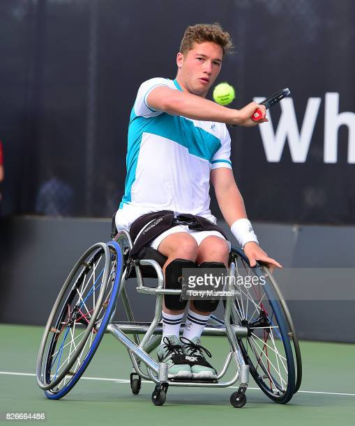 Alfie Hewett of Great Britain in action against Gordon Reed of Great Britain in his semi final Mens Singles match during the British Open Wheelchair...