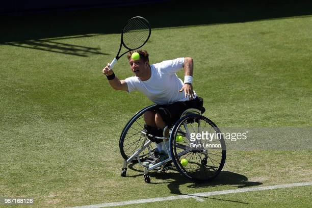 Alfie Hewett of Great Britain in action against Gordon Reid of Great Britain during a wheelchair tennis exhibition match on day eight of the Nature...