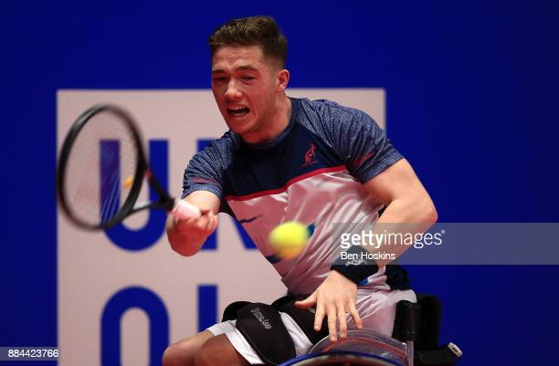 Alfie Hewett of Great Britain in action during his match against Joachim Gerard of Belgium on day four of The NEC Wheelchair Tennis Masters at...