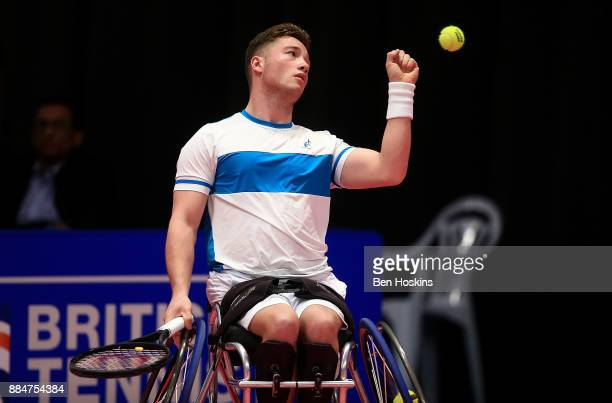 Alfie Hewett of Great Britain in action during the mens final against Gordon Reid of Great Britain on day five of The NEC Wheelchair Tennis Masters...