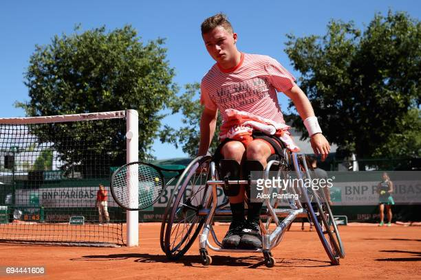 Alfie Hewett of Great Britain in action during the mens singles wheelchair final match against Gustavo Fernandez of Argentina on day fourteen of the...