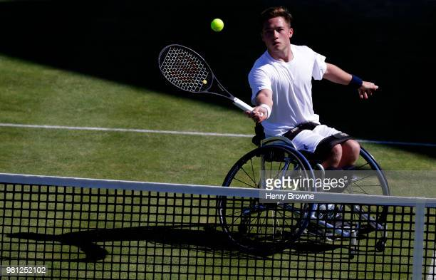 Alfie Hewett of Great Britain in action during the men's wheelchair doubles on Day 5 of the FeverTree Championships at Queens Club on June 22 2018 in...