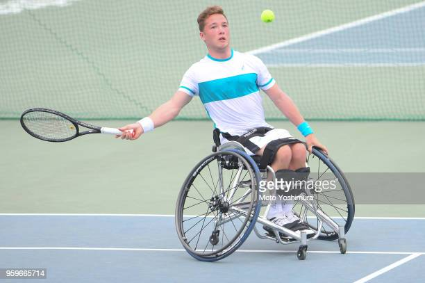Alfie Hewett of Great Britain plays a forehand during his Men's Singles semi final against Gordon Reid of Great Britain on day four of the Wheelchair...