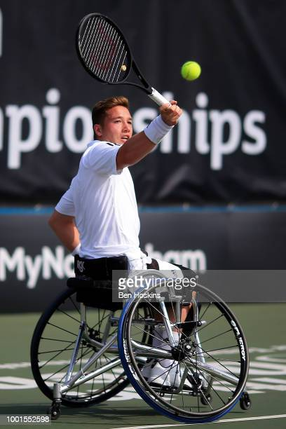 Gustavo Fernandez of Argentina plays a forehand during his doubles semi final against Alfie Hewett and Gordon Reid of Great Britain on day three of...