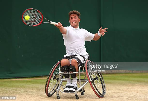 Alfie Hewett of Great Britain plays a forehand during the Men's Wheelchair Doubles Final against Stephane Houdet of France and Nicolas Peifer of...