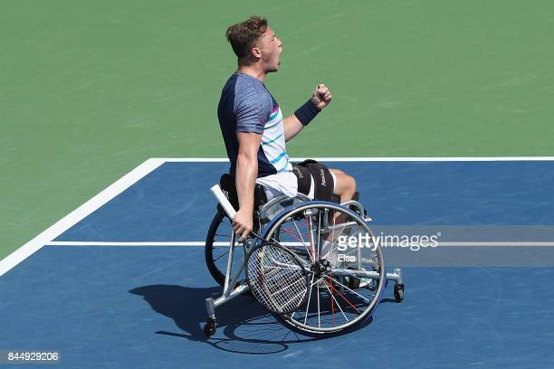 Alfie Hewett of Great Britain reacts against Gordon Reid of Great Britain in their Wheelchair Men's Singles semifinal match on Day Thirteen of the...