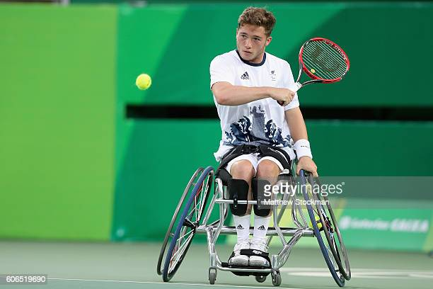 Alfie Hewett of Great Britain returns a shot at the Men's Singles Wheelchair Tennis gold medal match during day 9 of the Rio 2016 Paralympic Games at...