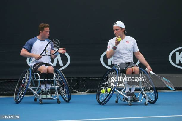 Alfie Hewitt of Great Britain and Gordon Reid of Great Britain compete in the men's wheelchair doubles final against Stephane Houdet of France and...