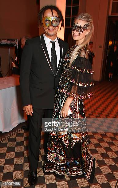 Alfie Hollingsworth and Sarah Harris attend Eva Cavalli's birthday dinner party at One Mayfair on October 9 2015 in London England