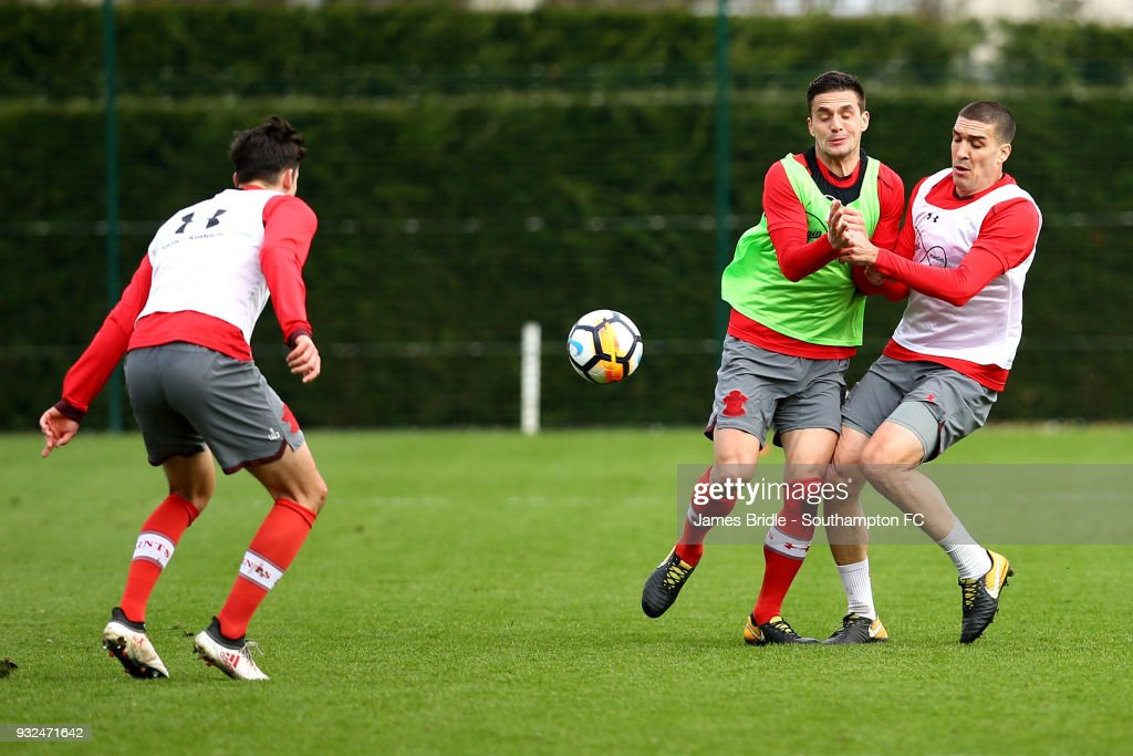 Alfie Jones, Dusan Tadic and Oriol Romeu during a Southampton FC first team training session at Staplewood Complex on March 15, 2018 in Southampton, England.
