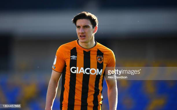 Alfie Jones of Hull City looks on during the Sky Bet League One match between AFC Wimbledon and Hull City at Plough Lane on February 27, 2021 in...