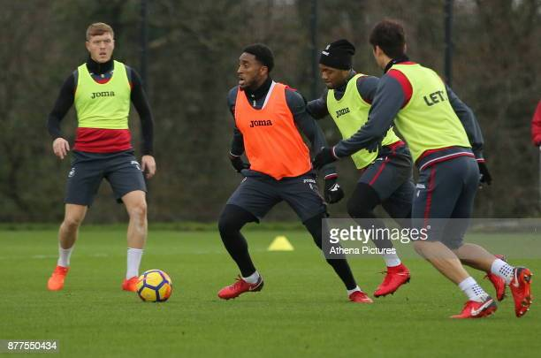 Alfie Mawson Leroy Fer Jordan Ayew and Ki SungYueng in action during the Swansea City Training at The Fairwood Training Ground on November 22 2017 in...