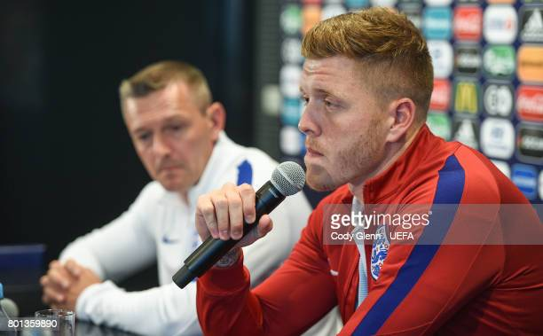 Alfie Mawson of England and England head coach Aidy Boothroyd during a press conference ahead of their UEFA European Under21 Championship semifinal...