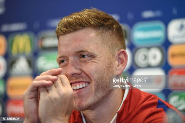 Alfie Mawson of England during a press conference ahead of their UEFA European Under21 Championship semifinal match against Germany on June 26 2017...