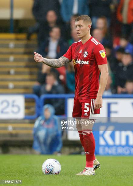 Alfie Mawson of Fulham during the Sky Bet Championship match between Huddersfield Town and Fulham at John Smith's Stadium on August 16 2019 in...