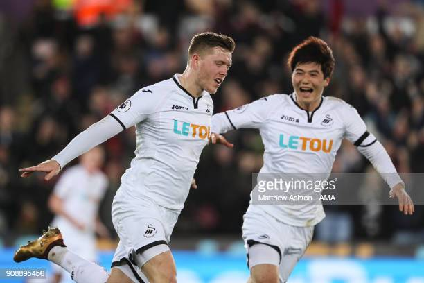 Alfie Mawson of Swansea City celebrates after scoring a goal to make it 10 during the Premier League match between Swansea City and Liverpool at...