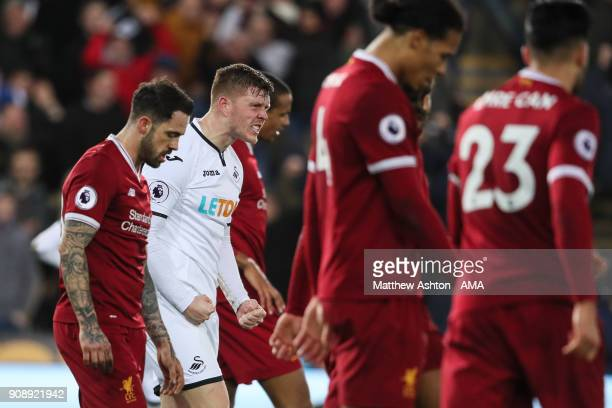 Alfie Mawson of Swansea City celebrates at full time during the Premier League match between Swansea City and Liverpool at Liberty Stadium on January...