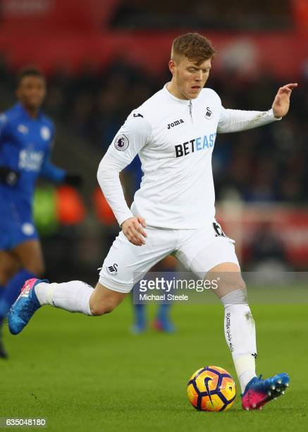 Alfie Mawson of Swansea City during the Premier League match between Swansea City and Leicester City at Liberty Stadium on February 12 2017 in...