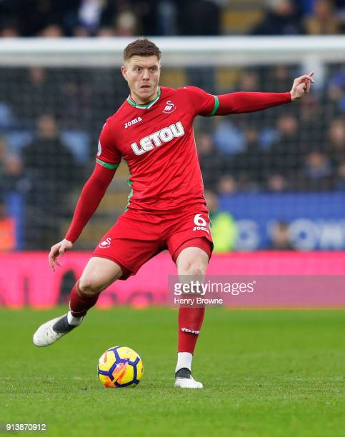 Alfie Mawson of Swansea City during the Premier League match between Leicester City and Swansea City at The King Power Stadium on February 3 2018 in...