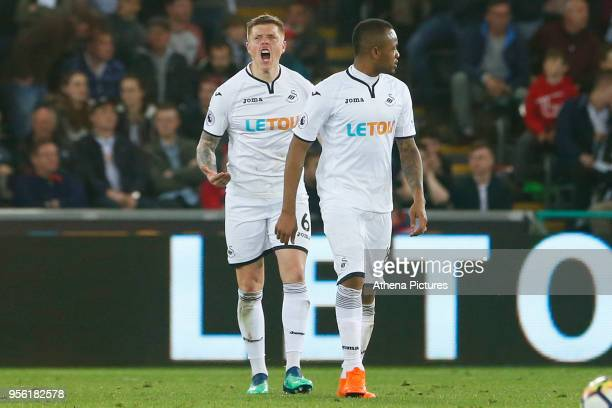 Alfie Mawson of Swansea City rallies his team after Manolo Gabbiadini of Southampton scores his sides first goal of the game during the Premier...