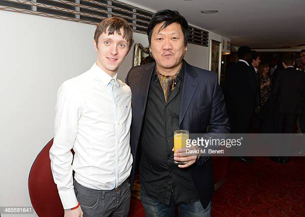 Alfie Oldman and Benedict Wong attend the 2014 Critics' Circle Theatre Awards at the Prince Of Wales Theatre on January 28 2014 in London England