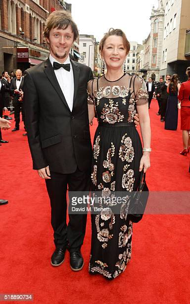 Alfie Oldman and Lesley Manville arrive at The Olivier Awards with Mastercard at The Royal Opera House on April 3 2016 in London England