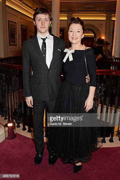 Alfie Oldman and Lesley Manville attend a champagne reception at the 60th London Evening Standard Theatre Awards at the London Palladium on November...