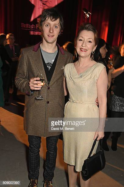 Alfie Oldman and Lesley Manville attend a champagne reception at the London Evening Standard British Film Awards at Television Centre on February 7...